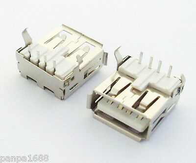 500pcs A Type 90D Right Angle USB 4pin Female Jack Socket PCB Mount Connector UK
