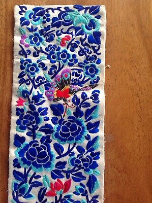 Antique Hand Embroidered Chinese Silk Panel Butterfly Cricket Flowers