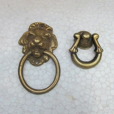 2 Pc Rare Old Brass Handcrafted Unique Shape Door Handle Knocker Rich Patina 467