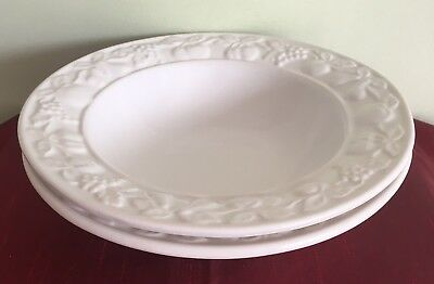 "Marks & Spencer/M&S - 2 x White Fruit Embossed Dessert Bowls 8"" (3 Pairs Avail)…"