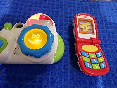 Fisher Price K7682 Kids Flip Phone & Hap-P-Kid Toy Camera Lights Sounds Music