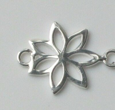 1 x 925 Sterling Silver Open Flower Outline Connector Charm Spacer