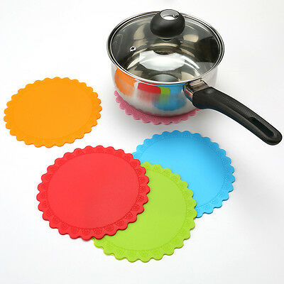Colorful Silicone Heat Resistant  Mat Pan Pot Cup Holder Pad Straightener