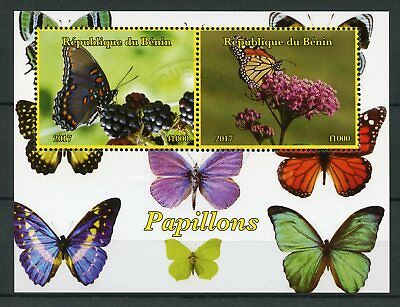 Benin 2017 CTO Butterflies Monarch Butterfly 2v M/S Papillons Insects Stamps