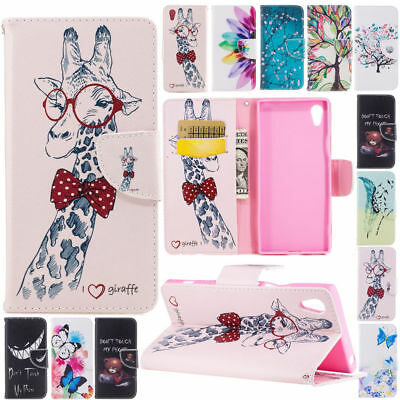 Painted PU Leather Wallet Flip Stand Magnetic Protective Case For Sony Xperia L1