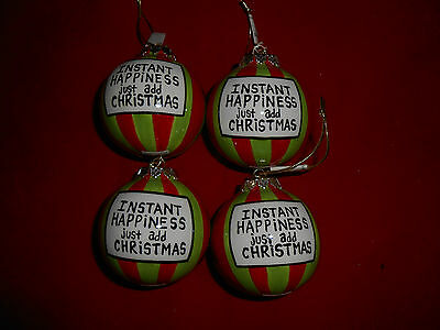 Set of 4 Instant Happiness Red and Green Ball Christmas Ornaments Enesco