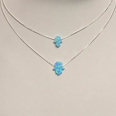 925 Sterling Silver Blue Opal Hand Of Fatima Hamsa Luck Protection Opal Necklace