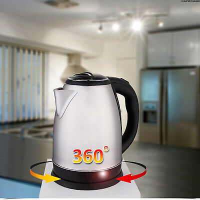 Premium Stainless Steel Electric Kettle Jug Indicator Light 360° Cordless Silver