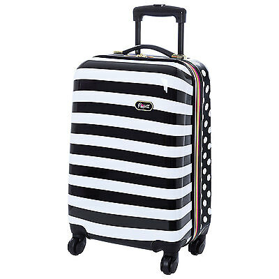 "Rosetti Summer Breeze 19"" Hard Side Spinner Carry-On Luggage  Black & White"