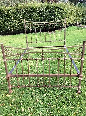 """Antique Edwardian Brass And Iron Double Bed 4ft 6"""""""""""