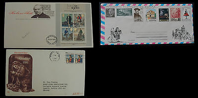 3 x First Day Covers - Uk, 1979,  USA, 1986,  SPAIN,1976