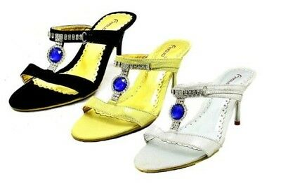 Ladies high heel mules / sandals with large blue jewels