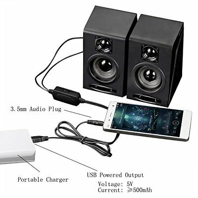 USB Multimedia Computer PC Desktop Laptop Speakers Wired Bass Subwoofer Powered