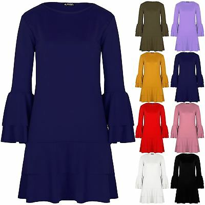 Ladies Womens Hem Swing Shift Double Frill Bodycon Bell Sleeve Frill Mini Dress