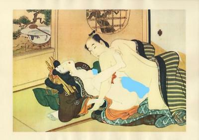 Japanese Reproduction Woodblock Print Shunga Style A7 Erotic A4 Parchment Paper