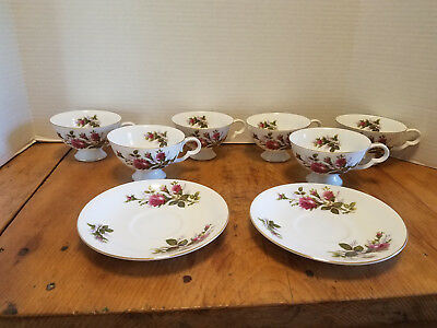 8 pcs Mino Fine China Jubilee MOSS ROSE Cup Saucer Japan Roses w/ Gold trim