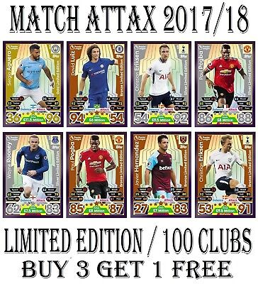 Match Attax 2017/18 17/18 LIMITED EDITION  100 CLUB  Cards 2018