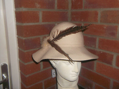 Vintage Hat with Grouse Feathers