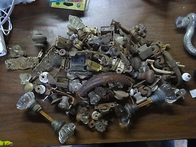 A2c Large Lot Antique Victorian Brass Drawer Door Handles Hinges Pulls Hardware