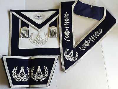 Blue Lodge NB Master Mason Apron Hand Silver Embroidery Apron GauntletCollar Set