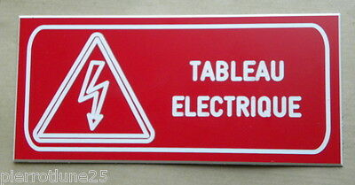 plate engraved DANGER TABLE ELECTRIC SIGNAGE