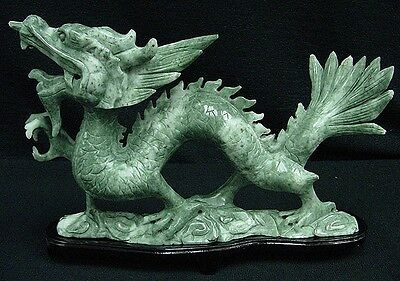 "Dragon Jade 9"" Asian Art Fierce Hand Carved Stone Sculpture Antiques Collectible"