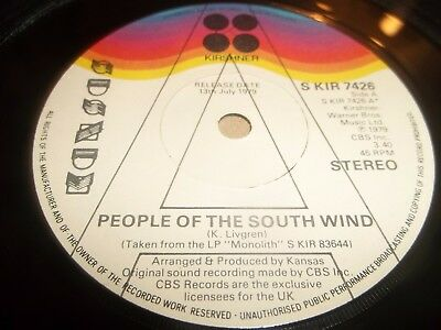 "Kansas "" People Of The South Wind "" 7"" Prog Rock Promo S Kir 7426 Excellent 1979"