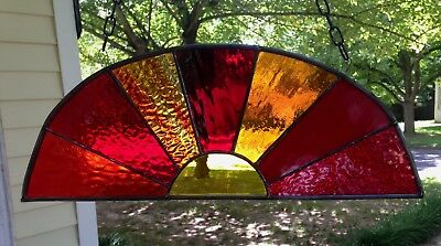 Sunset Stained Glass Window Panel Suncatcher 17x6 Dome