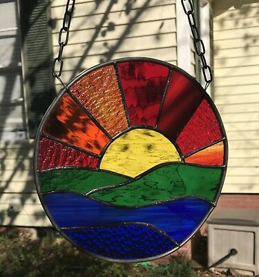 "Sunset Stained Glass Window Panel Suncatcher 9"" Round"