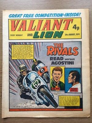 Valiant & Lion Comic 24/08/1974. Good Condition. IPC Mag. Free Competition