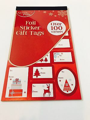North Pole - Over 100 Traditional Foil Sticker Christmas Gift Tags Labels