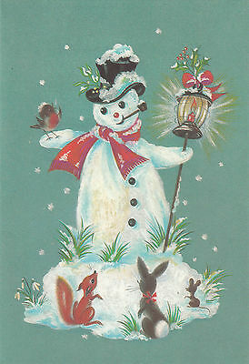 Vintage 1970's Happy Christmas Merry Snowman  Xmas Greeting Card
