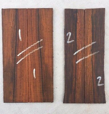 Highly figured cocobolo rosewood bookmatched razor scale / inlay / veneer sets