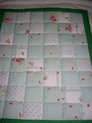 Pram / Crib Quilt - Green Patchwork - X