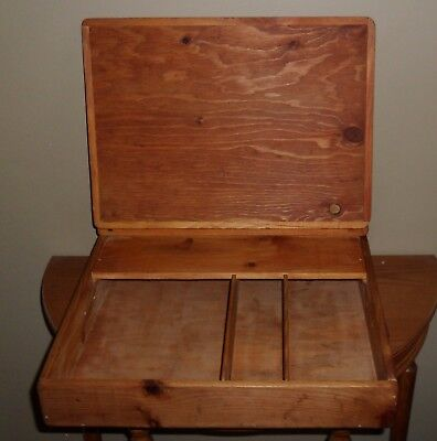 Vintage SLOPED Portable Wooden LAP DESK Hinged Writing BOX