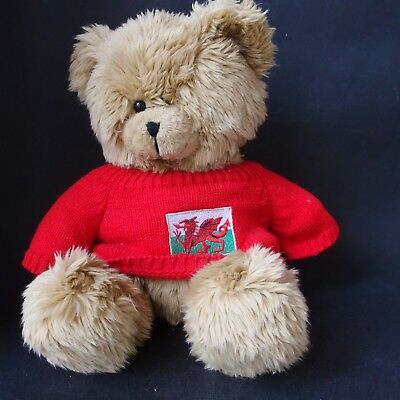 Wales Souvenir Teddy Bear -Red Jumper with Dragon Flag - Tagged Pendragon Wales