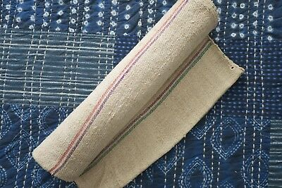 Antique European Hemp Grain Sack Rare Horizontal Stripes Red Purple and Green