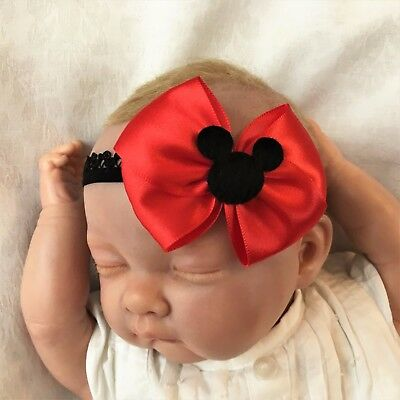 Baby Girl Black Lace Headband with Red Satin Bow Minnie Mouse Head Disney