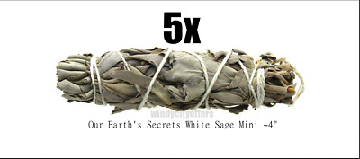 "White Sage Smudge Stick / Wands: 4 to 5 "" House Cleansing Negativity Removal 5 x"