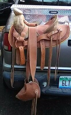 Year was made 2016,  1830s vaquero  horse saddle 15, light brown leather saddle.