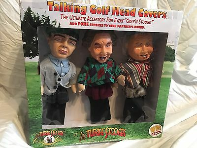 Three Stooges Talking Golf Head Covers Funny Novelty With Tags Moe Larry Curly