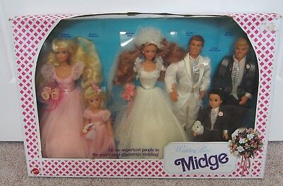 Barbie~WEDDING PARTY MIDGE Gift Set~Alan,Barbie,Ken,Kelly & Todd 1990 #9852~NRFB
