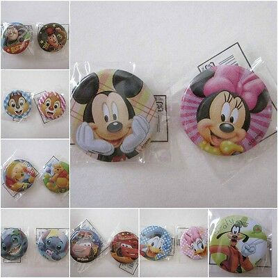 """Set of 2 Disney Pixiar 1.25"""" Round Tin Pin Back Buttons Mickey, Toy Story, Pooh"""
