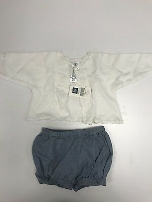 Baby Gap NWT White Sweater and Blue Denim Color Bloomers - Newborn 0-3 Mo.