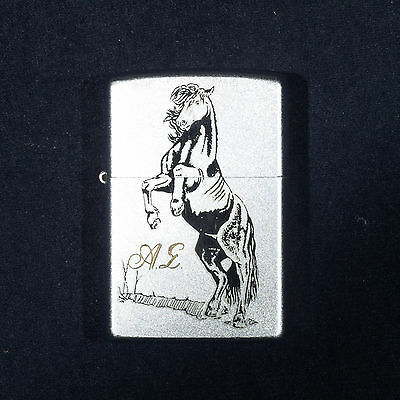 Zippo Lighter Horse Satin Chrome Monogrammed Greek Letters Alpha Sigma A 2008