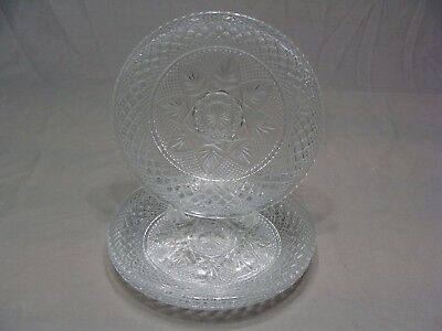 """4 Cristal D'Arques-Durand 8"""" Crystal Luncheon Plates, Antique Clear Pattern, USA"""