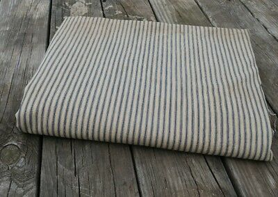 "Antique Blue Ticking Stripe Feather Bed Mattress w/o stuffing 58"" x 74"" vintage"
