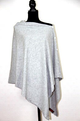Cashmere Poncho Pashmina Wrap Ladies Shawl Scarf Grey Black Buttoned Multi Ways
