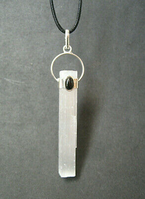 Raw Selenite with Black Tourmaline Gemstone Crystal Pendant Necklace