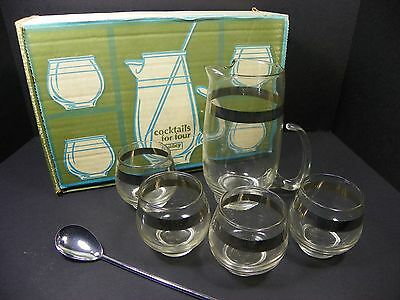 Vintage Cocktails For 4 Martini Pitcher Set by Libbey Glass Platinum Silver Band